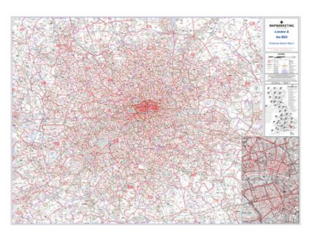 Postcode Sector Map 8 London and the M25